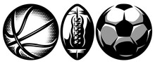 Set Of Stylish Sports Balls For Soccer, Basketball And American Football