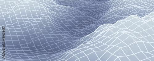 Obraz na plátne 3D rendered gray topographic mountain grid.