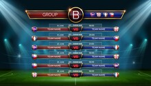 Football World Cup Schedule. Soccer Calendar For Matches In Group. Table With Date, Location And Country Flags On Stadium, Vector Template