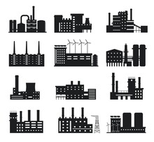 Factory Silhouette. Industrial Building Icons. Manufacture Plant And Power Station With Chimneys, Windmills And Solar Panels Logo Vector Set