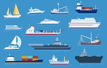 Sea Boats. Fishing And Cargo Ships, Yacht, Shipping Boat, Cruise Ocean Liner, Motorboat And Military Warship. Sailboat Transport Vector Set