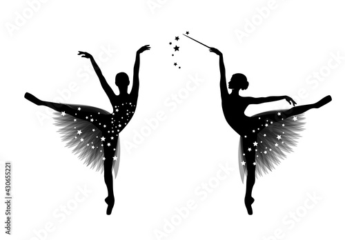 Obraz na plátně graceful ballerina girl with transparent tutu dress and magic wand standing on p