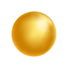 Gold Sphere. Golden Glass Ball. 3d Metal Shape. Beauty Yellow Bubble. Oil Circle. Shine Luxury Design Element. Organic And Natural Cosmetic Concept. Vector Illustration