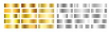 Gold And Silver Gradient Set. Golden Foil Brass Material. Copper Paper Sheet Plate. Shine Yellow Border. Luxury Design For Award, Medal, Win. Steel Frame. Vector Illustration
