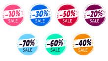 Vector Icon Set. 10,20,30,40,50,60,70 Percent Off Sale