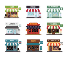 Flat Style Shop Little Tiny Icon Set. Chinese, Fram, Bakery, Pizza, Pharmacy, Fram, Books, Butcher's