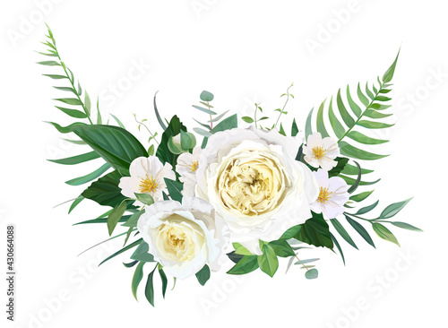 Elegant half wreath floral bouquet with yellow garden roses, white camellia flowers, greenery, green forest fern leaves, eucalyptus. Vector, editable, watercolor illustration. Wedding designer element - fototapety na wymiar