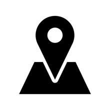 Location Pointer Pin Hotspot Sign On Map Flat Icon. Vector Image.