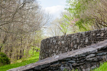 A Field Stone Wall And Ramp In The Woods On The Natchez Trace Parkway.