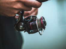 The Fisherman With A Baitcasting Reel Close-up