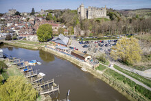 Arundel Town And River Aerial View With Arundel Castle In View In This Popular Tourist Destination In West Sussex.