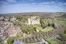 Arundel Castle Aerial View Set In A Dominate Position Looking Over The Town Of Arundel A Popular Tourist Destination In West Sussex.