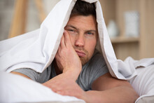 Man Sleepy Drowsy Unshaven Bearded Face Covered With Blanket
