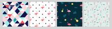 Pink Flamingo Seamless Pattern Background Summer Collection Set. Vector Illustration