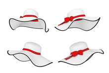 Pretty Beautiful White Women's Summer Sun Hat With Red Ribbon And Bow. 3d Rendering