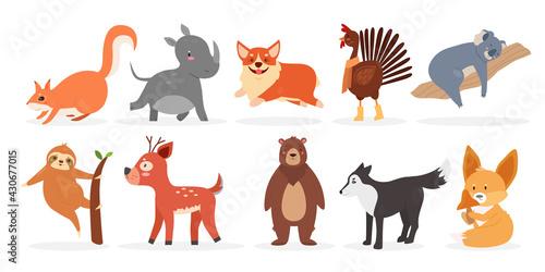 Fototapeta premium Cute wild furry animal, farm bird and pet vector illustration set. Cartoon rhino squirrel corgi dog rooster deer bear fox wolf sloth koala, baby funny animal character collection isolated on white