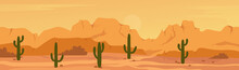 Mexican Texas Or Arisona Desert Nature Wide Panorama Prairie Scene Landscape Vector Illustration. Cartoon Dry Desert Scenery With Mountain Rocks, Dunes And Cactuses