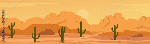 Fotografía Mexican Texas or Arisona desert nature wide panorama prairie scene landscape vector illustration