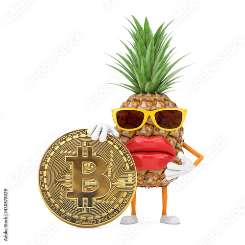 Fun Cartoon Fashion Hipster Cut Pineapple Person Character Mascot with Digital and Cryptocurrency Golden Bitcoin Coin. 3d Rendering