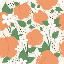 Peach Or Apricot Fruit Seamless Pattern Design Vector Illustration Set. Cartoon Summer Peachy Trendy Botany Texture With Whole And Half Orange Peach, Nectarine Branch, Green Leaves And White Flowers