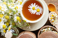 Cup Of Herbal Chamomile Tea With Fresh Daisy Flowers Background, Treatment And Prevention Of Immune Concept, Medicine