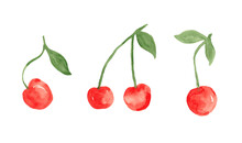 Red Cherry Berries - Watercolor Painting Set Isolated On White Background