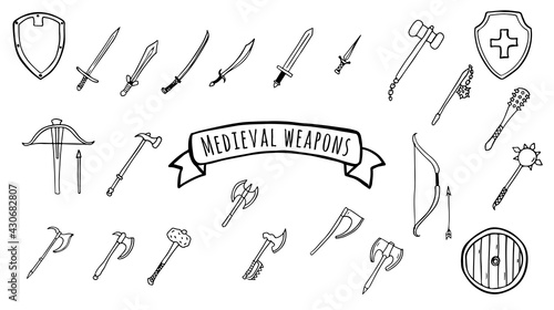 Fotografija Medieval weapon set of swords, axes, hammers, shields in doodle style isolated