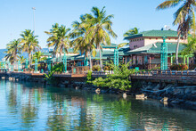 A View Of The La Guancha Boardwalk From The Water.  Ponce, Puerto Rico, USA.