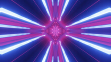 3d Render. Sci-fi Tunnel With Neon Lights. Abstract High-tech Tunnel As Background In The Style Of Cyberpunk Or High-tech Future. Symmetrical Purple Light Streaks. Round Structure With Rays