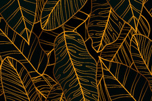 Gradient Golden Linear Background With Banana Leaves