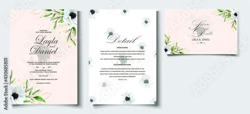Foto Elegant hand drawing invitation floral design Watercolor poppy anemone invitatio