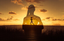 Freedom And Peace In Nature. Young Woman Relaxing Meditating At Sunset. Female Running At Sunrise. Mind Body And Spirit Concept.
