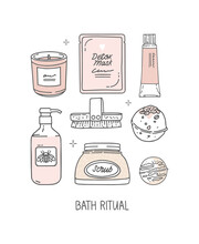 A Set Of Hand-drawn Elements, Vector. Scented Candle, Face Mask With Inscription Detox, Cream, Lotion. Body Scrub And Dry Massage Brush, Bath Bombs. Inscription Bath Ritual. The Skin Care, Home Spa.