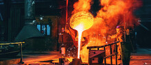 Liquid Iron Molten Metal Pouring In Container, Industrial Metallurgical Factory, Foundry Cast, Heavy Industry Background.