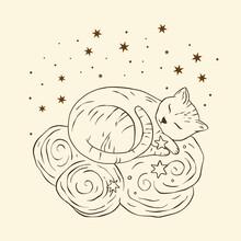 Celestial Cat Sacred Astrology Boho Esoteric Art. Nursery Animal Sky Dreamy Art.