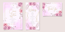 Set Of Beautiful Wedding Invitation Template With Hand Drawn Pink Roses Flower Ornament