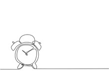 Single Continuous Line Drawing Of Old Retro Alarm Analog Clock On The Floor. Minimalism Metaphor Business Deadline Concept. Dynamic One Line Draw Graphic Design Vector Illustration