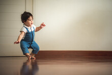 Cute Toddler Little Child Family Concept, Baby Learning To Walk With Father And Mother To Help Care And Holding Hand, First Step With Childhood Parent Support, Small Love Portrait Little Boy At Home