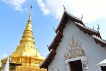 Ancient Golden Pagoda Traditional Northern Style At Wat Phra That Chae Haeng, Nan Province, Thailand.