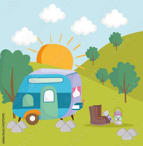 camping camper lantern Fotobehang