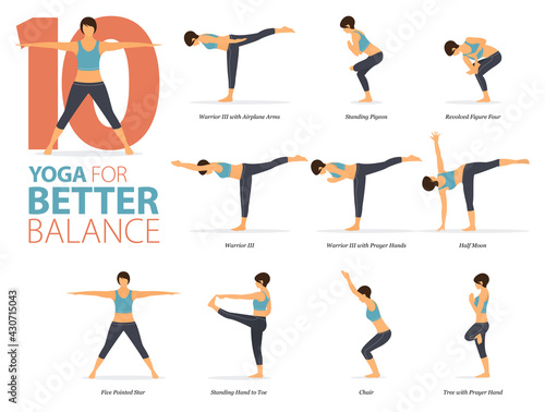 Fotografia 10 Yoga poses or asana posture for workout in Better Balance concept