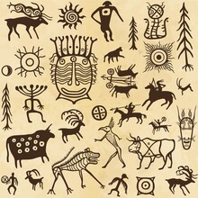 Animation Image Of Ancient Rock Paintings. Drawing On A Stone. Set Of Petroglyphs,mystical Symbols, Animals, People And Gods.Vector Illustration. Seamless Pattern. Background - Imitation  Old Paper.