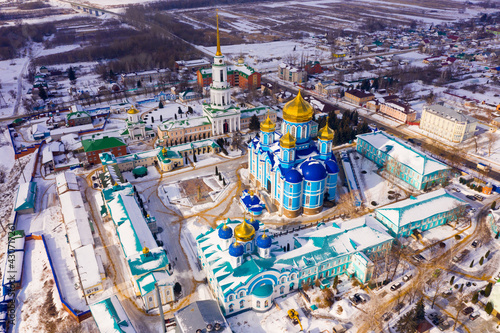 View from drone of Zadonsk Monastery of Nativity of Virgin with golden domes of St Fototapete