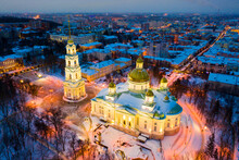 Evening View From Above Of The Spassky Cathedral In Winter In Penza, Russia.