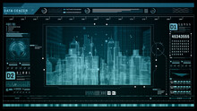 HUD Futuristic Holographic Scan, Smart City Technology Internet Connection, Technology Digital Data Center Communication Abstract Background. 3d Rendering