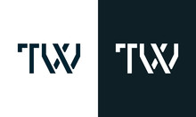 Creative Minimal Abstract Letter TW Logo.
