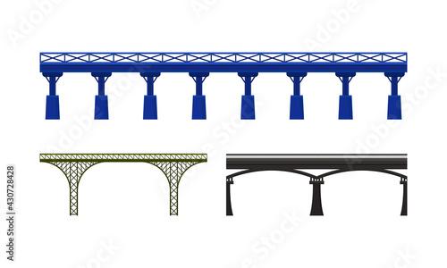Cuadros en Lienzo Straight Bridges Made of Metal with Baluster Vector Set