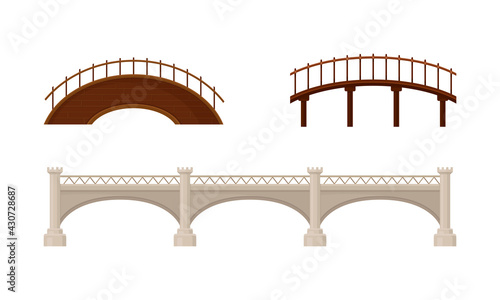 Fotografía Straight and Arch Bridges Made of Wood and Concrete with Baluster Vector Set