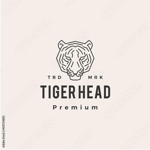 Photo tiger head hipster vintage logo vector icon illustration