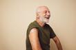 canvas print picture Senior man got vaccinated